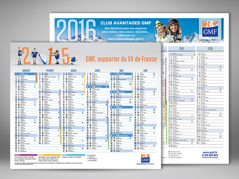 GMF, calendriers grands formats